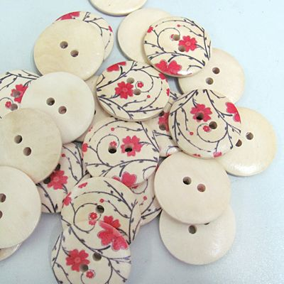 Round Painted 4-hole Basic Sewing Button with Elegant Flower Pat