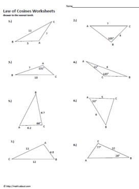 Worksheets Law Of Cosines Worksheet law of cosines worksheet sines
