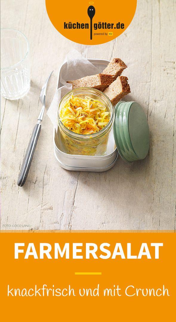 FARMERSALAT MIT CRUNCH - Unser Farmersalat ist ein hervorragendes Mittagessen fürs Büro. Einfach in ein Schraubglas füllen, mit in die Arbeit nehmen und sich eine kleine Genusspause gönnen.