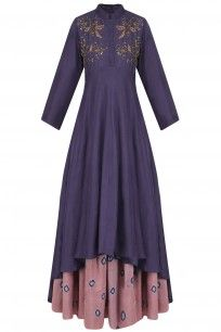 Navy Blue Floral Embroidered Double Layered Dress With Bandhni Underskirt