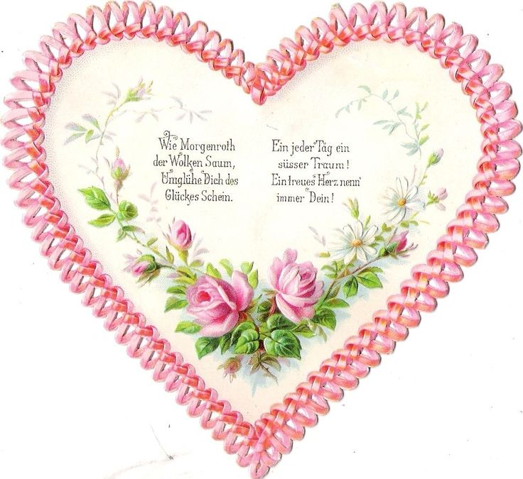Oblaten Glanzbild scrap die cut chromo Herz  12,5cm heart Gruß greeting Spruch