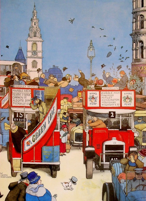 London Buses, W. Heath Robinson, UK.