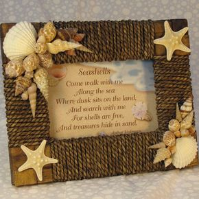 Seashell Picture Frame Seagrass Rattan With Seashell Poem. $36.50, via Etsy.