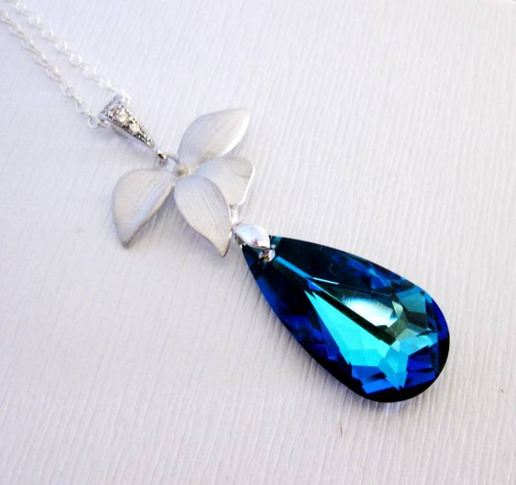Blue Necklace Orchid Silver CZ Peacock Wedding Jewelry Bridal Br $39.99 For bridesmaids?