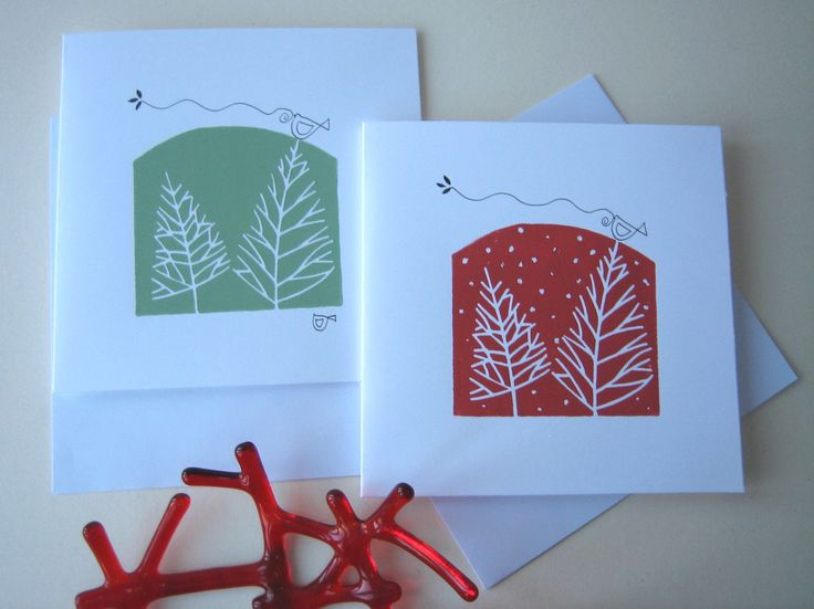 Set of two Handmade Linocut Cards - Winter Trees and Snow - Bird of Peace in Red…