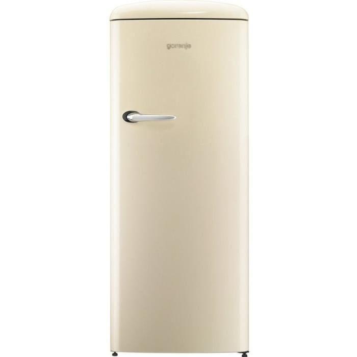 Freezer haut-254 L (235L + 25L)-Froid brassé-A+++-L 60 x H 1,54 cm-Design vintage-Beige