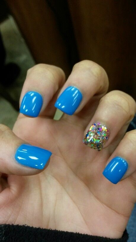 Solar Nail Powder Solid Electric Blue With A Chunky Glitter Accent Nail Nails Powder