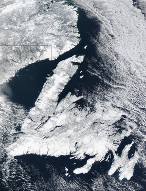 ♥ Satellite view of Newfoundland and part of Labrador.