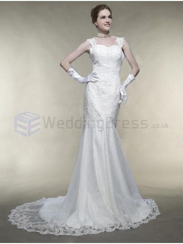 Trumpet Mermaid Square Lace Organza Court Train Wedding Dress with Beading