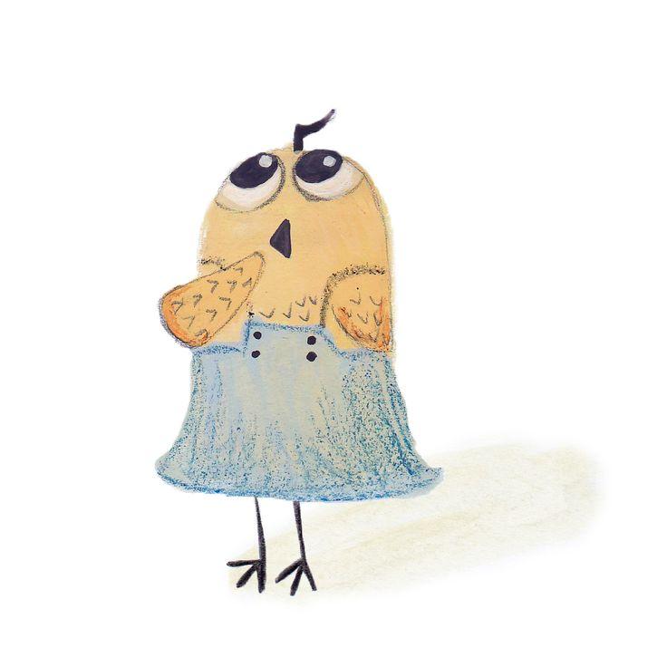Character for childrens' book #illustration #owl #bigeyes #wonder