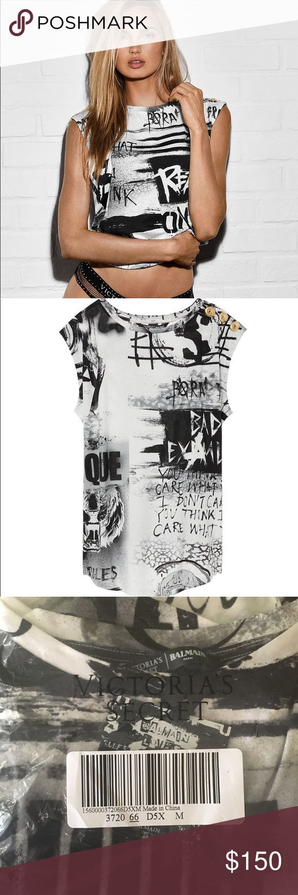 Victoria Secret x Balmain Graphic Top VS x Balmain Graphic Tee Brand NEW and Sold out online! Size: M Color: white/black Never worn or used Only of out of wrap to take photos Please don't ask for a model because I don't have anyone and certainly can't model it lol  Tags// vs balmain 2017 white/black new sold out Balmain Tops Crop Tops