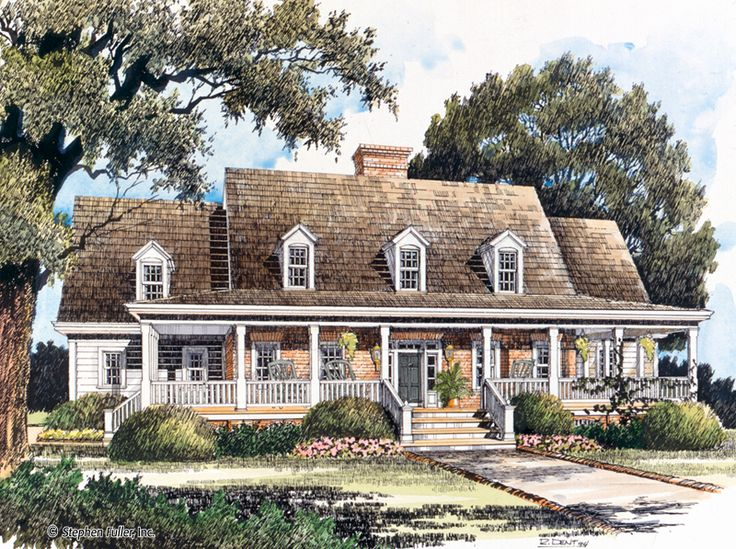 farmhouse style 2 story 3 bedroomss house plan with 3007 total square feet and 2 full bathrooms from dream home source house plans - Cottage Plans Farmhouse Style