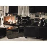 *Quick Ship* Black Ice Sapphire Living Room Set in Black