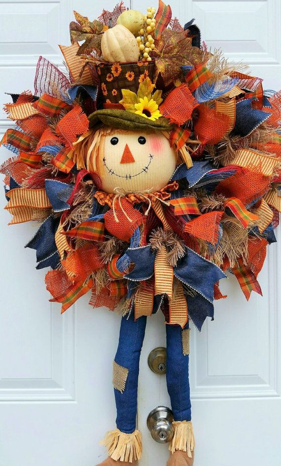 Scarecrow Wreath-Fall Wreath-Fall Door by StudioWhimsybyBabs