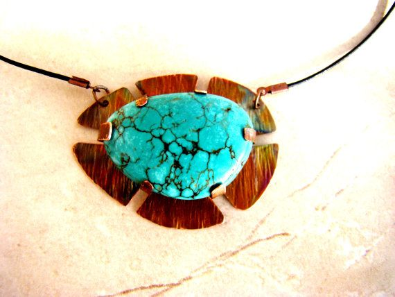 Copper pendant turquoise gemstone cabochon rustic by bambusz