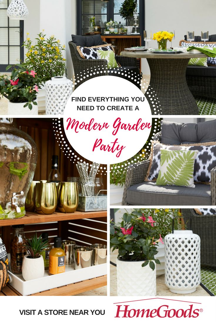 What better way to celebrate warmer weather than to bring your favorite entertaining, hosting, and decorating must-haves outdoors!  Create a fun and modern garden party with a twist on classic black and white: use fun melamine plates to bring in bright colors, allows guests to get comfortable with cozy pillows and outdoor cushions, and serve up your favorite drinks and snacks on a fabulous bar cart.  Find everything you need to be the hostess with the mostess at HomeGoods!