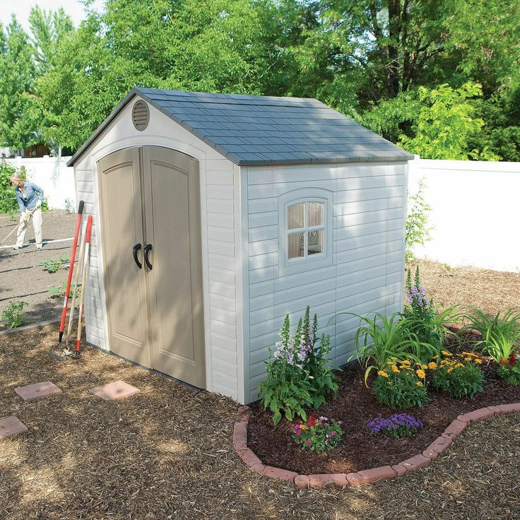 Lifetime resin storage building 8 39 x 7 1 2 39 1 for Resin garden shed