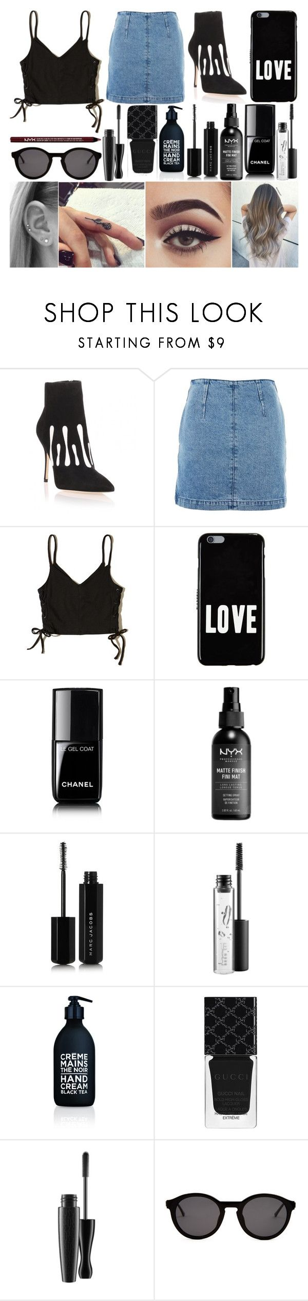 """Party"" by susanna-trad ❤ liked on Polyvore featuring Manolo Blahnik, Topshop, Hollister Co., Givenchy, Chanel, Marc Jacobs, MAC Cosmetics, La Compagnie de Provence, Gucci and Thierry Lasry"