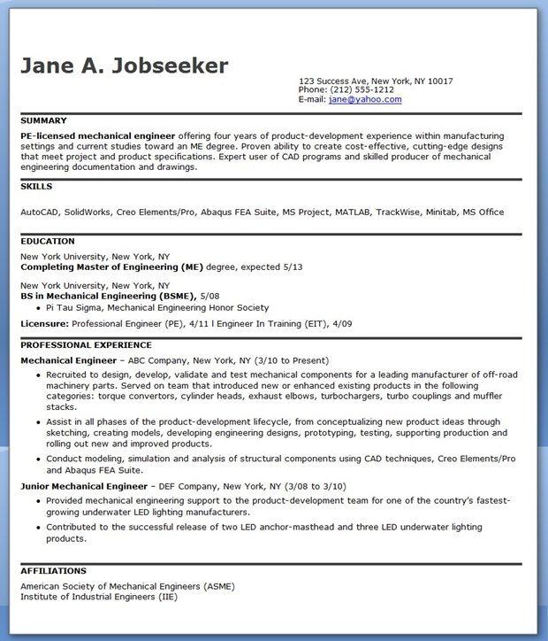 Mechanical Engineering Resume Sample PDF (Experienced)