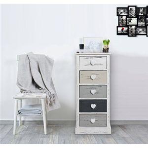 Mobiletto shabby chic, ideale per i piccoli spazi, in legno di Paulonia con raffinati pomelli in rilievo a forma di cuore. Perfetto per qualunque ambiente della zona giorno, per il bagno o la camera da letto, disponibile in diverse tonalità.