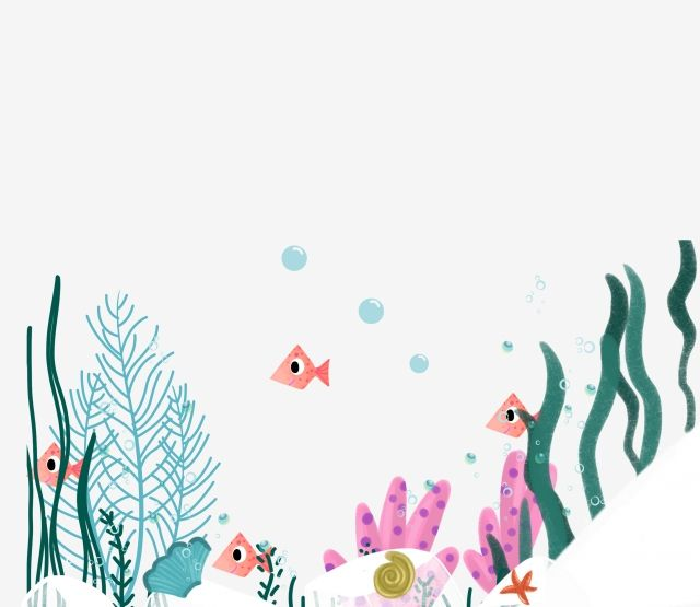 Hand Painted Decorative Pattern Underwater World Small Fish Seaweed Coral Starfish Png Transparent Clipart Image And Psd File For Free Download Underwater Flowers Fish Drawings Flower Illustration
