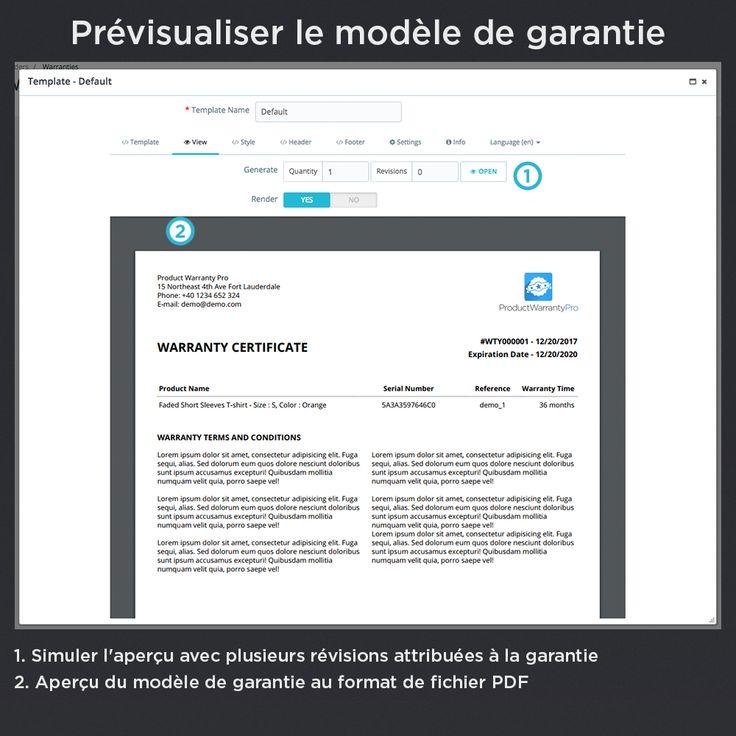 Prévisualiser le modèle de garantie, simuler l'aperçu avec plusieurs révisions attribuées à la garantie, aperçu du modèle de garantie au format de fichier PDF.