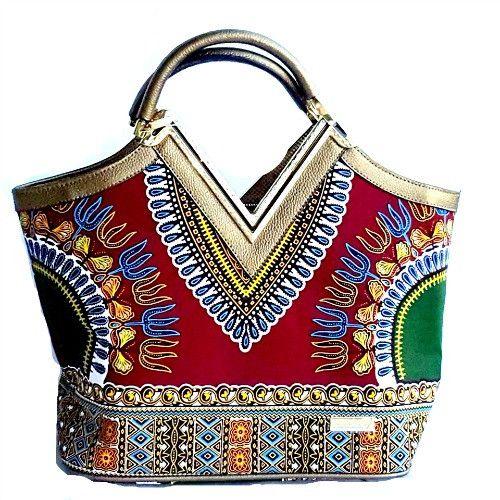 Dashiki African print Elegant Modern Fashion Handbag Burgundy - Zabba Designs African Clothing Store  - 2