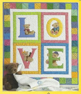 Baby Applique Patterns | Baby Quilted Wall Hanging Pattern Love Bears Applique Brandywine ...