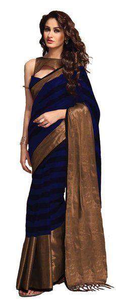 Shaded Dark Blue Cotton Silk Pattu Saree