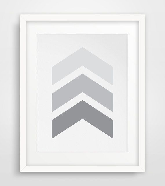 Chevron Wall Art Grey Chevrons Light Grey by MelindaWoodDesigns