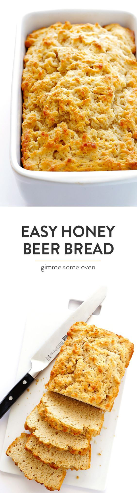 This recipe for Honey Beer Bread is my absolute FAVORITE. It's super easy to make, calls for just 6 ingredients, and tastes perfectly buttery, sweet and delicious!   gimmesomeoven.com