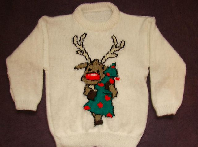 Ravelry: Christmas Rudolph Reindeer Jumper / Sweater Knitting Pattern #2 pattern by Blonde Moments