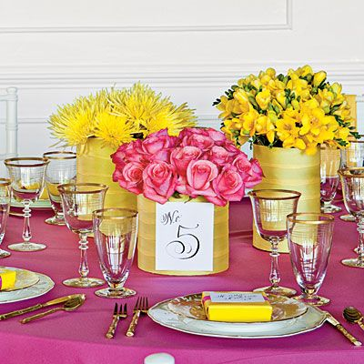 Charming Pink and Yellow Centerpiece - Wedding Table Centerpieces - Southern Living