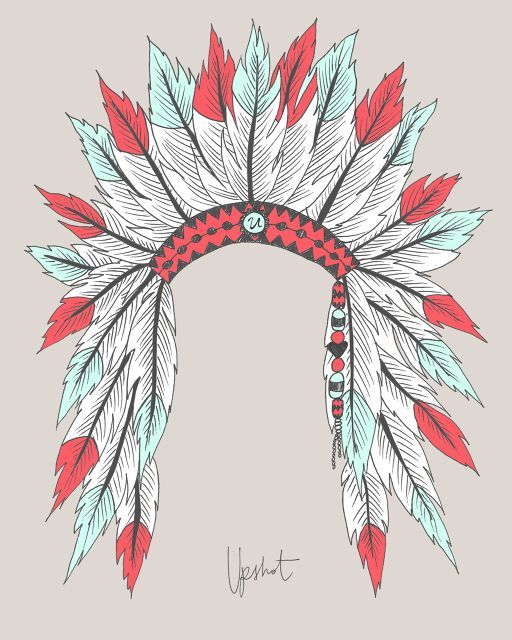 Indian headdress print   jaci   Feather art, Art ...