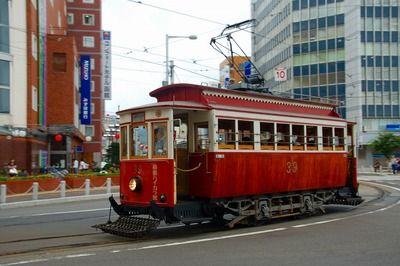 tram  函館駅前。函館市電は「市営」です。  japan