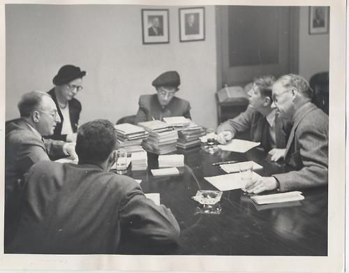 The 1950 National Book Award Poetry judges— meet to decide the Winner of the first National Book Award for Poetry. // Louis Untermeyer, Louise Bogan, Babette Deutsch, W.H. Auden, Horace Gregory, and moderator William Cole