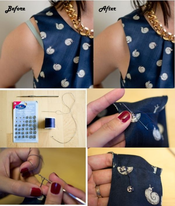 DIY | Sew a Bra Strap Holder Into Your Top by l!sa