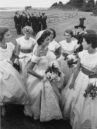 Jacqueline Bouvier, Bride of Sen. John F. Kennedy, Wearing Gorgeous Off Shoulder Wedding Dress