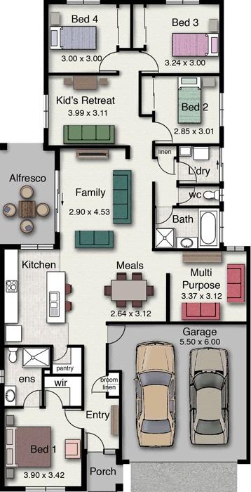 Vista 210 - modern, versatile, practical floor plan. - I'd make a few adjustments but I like the simplicity