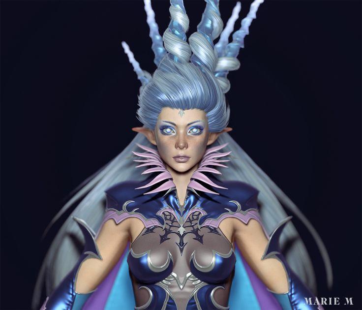 Shiva Fan art from Final Fantasy XIV, Game model, Marie-Michelle Pepin on ArtStation at https://www.artstation.com/artwork/mloYe