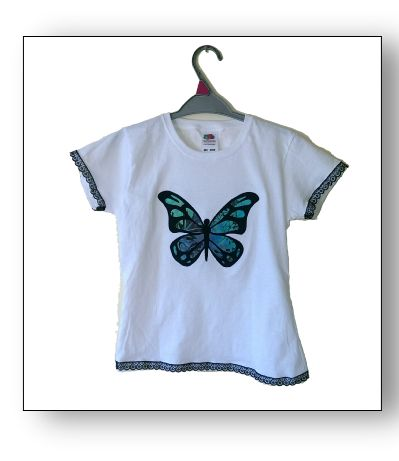 Gecko Fabric Art - Butterfly applique t-shirt with lace trim