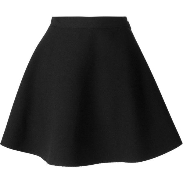 MSGM Skater Skirt ($287) ❤ liked on Polyvore featuring skirts, bottoms, black, msgm, black knee length skirt, black flared skirt, skater skirt and msgm skirt