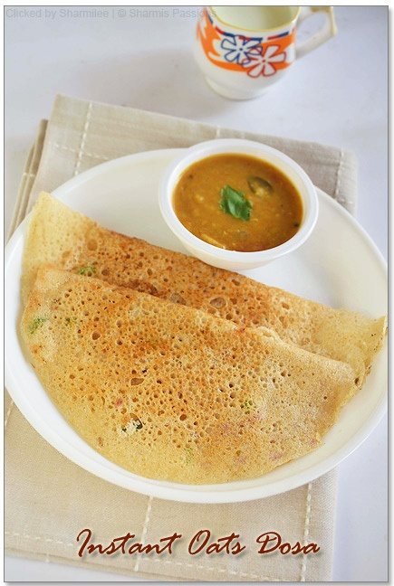 Instant Oats Dosa recipe. Uses rice flour, oats, semolina and cumin. Yum! I want to start eating dosa for breakfast every day.