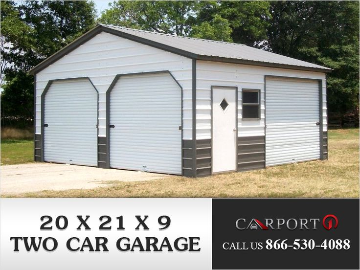 20' x 21' x 9' Vertical Roof Two Car Garage only at 4,755