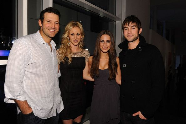 "Tony Romo Photos Photos - (L-R) Dallas Cowboys Quarterback Tony Romo, television personality Candice Crawford, actress Jessica Lowndes and actor Chase Crawford attend a private dinner hosted by Audi during Super Bowl XLV Weekend at the Audi Forum Dallas on February 5, 2011 in Dallas, Texas. - Antonio ""L.A."" Reid Hosts A Private Dinner During Super Bowl 2011 Weekend At The Audi Forum Dallas"