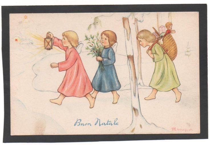 🌺Cartolina Buon Natale Angeli con doni lanterna fiori Illustratore Mariapia
