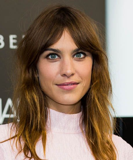 The best celebrity bangs for long faces: Alexa Chung's curtain bangs have rightly earned a spot in fringe folklore. These rock 'n' roll bangs flatter most face shapes, but are particularly fab on the long and oval kinds.
