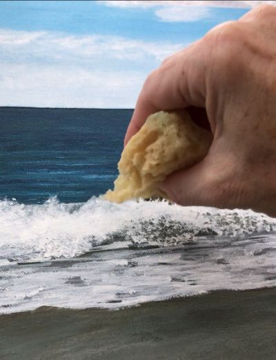 Art sponge makes more natural looking shadows when painting waves