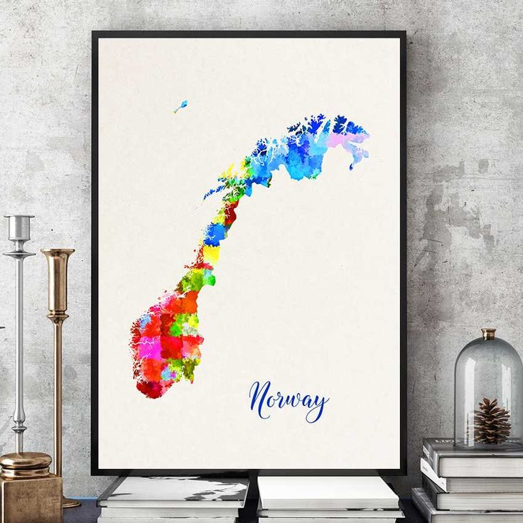 Norway Map Art, Norway Poster, Watercolor Map Print, Norwegian Wall Art, Map Poster, Scandinavian Home Decor (711) by PointDot on Etsy