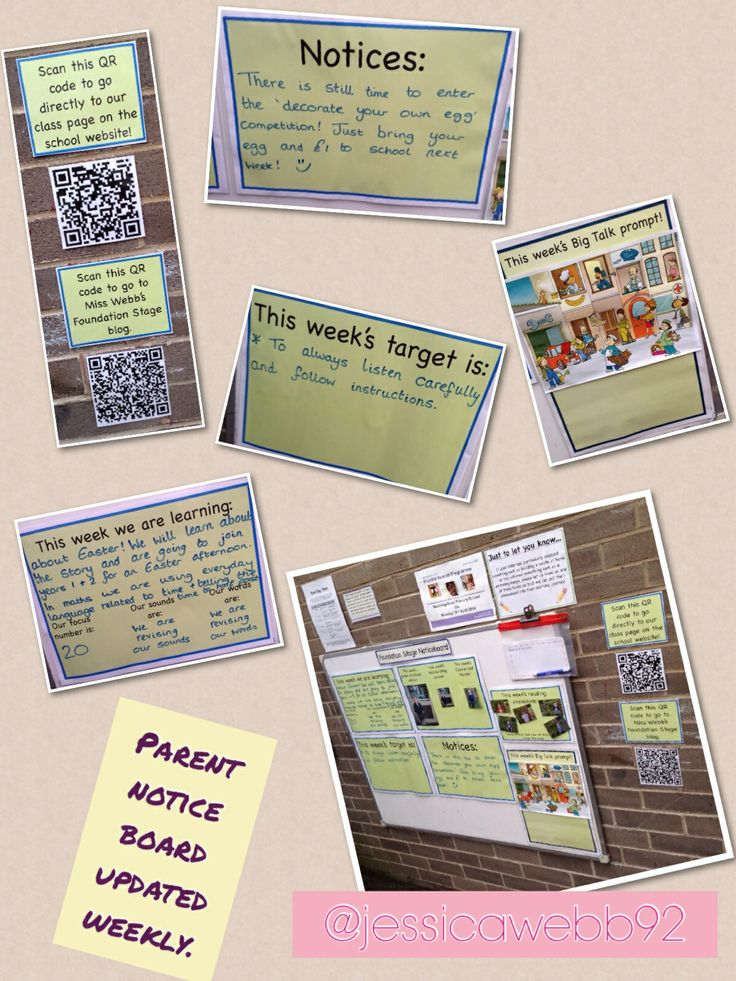 Parent notice board. Updated weekly with the weeks's certificate winners, reading champions, the weeks's sounds/ focus numbers/ high frequency words, the week's target, and links to blog and website. EYFS